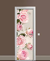 Виниловая наклейка на двери Бутоны Розовые Розы (ламинированная пленка ПВХ) цветы 650*2000 мм