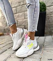 Модні кросівки з натуральної шкіри 38 р білий, фото 1
