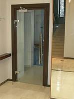 Стеклянные двери в деревянной коробке с доводчиком
