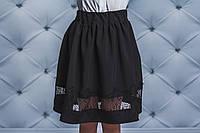 Стильная юбка для девочки с гипюром черная