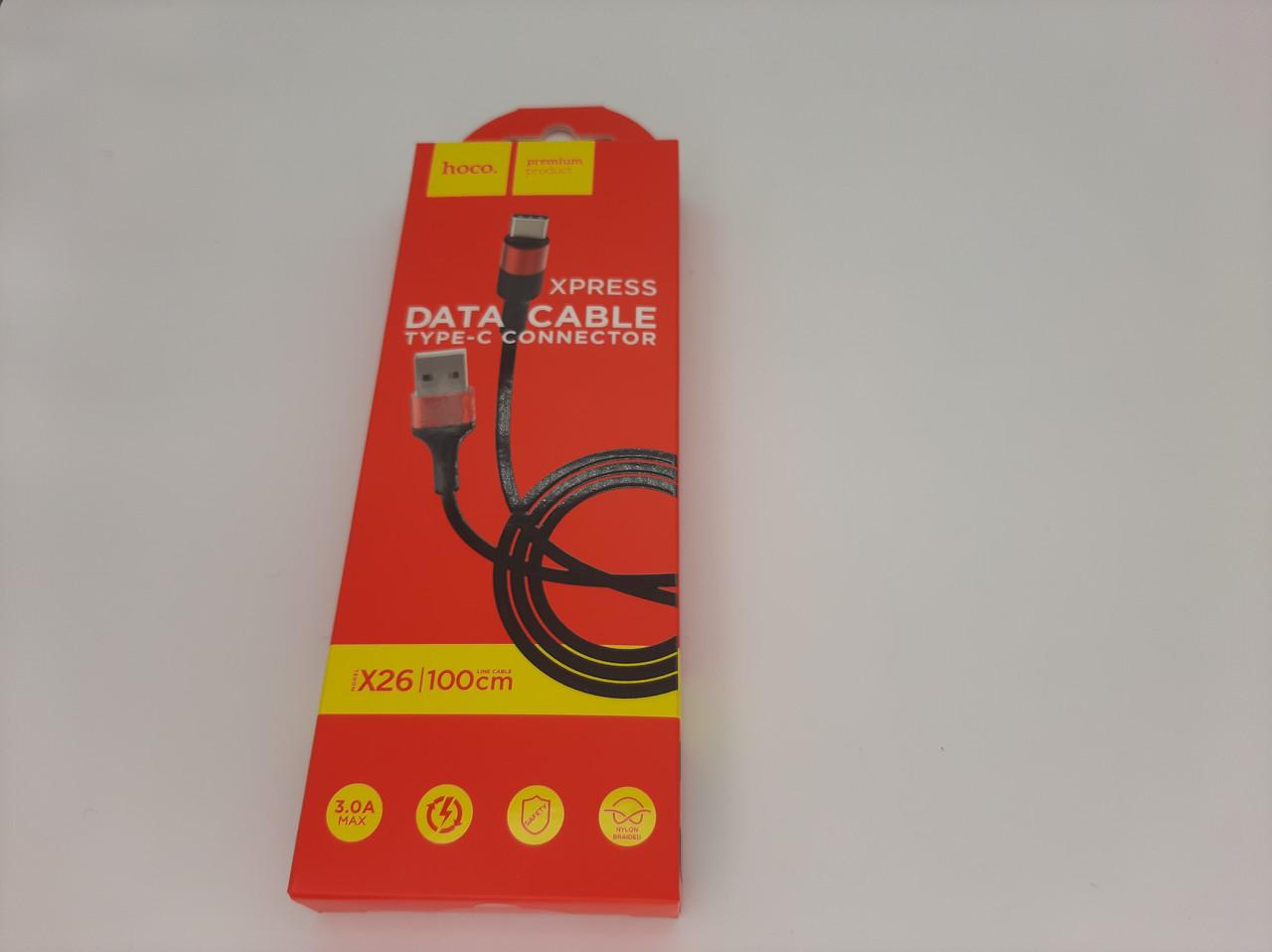 """USB Кабель HOCO X26 """"Xpress"""" Type-C (1М) (чорно-червоний)"""
