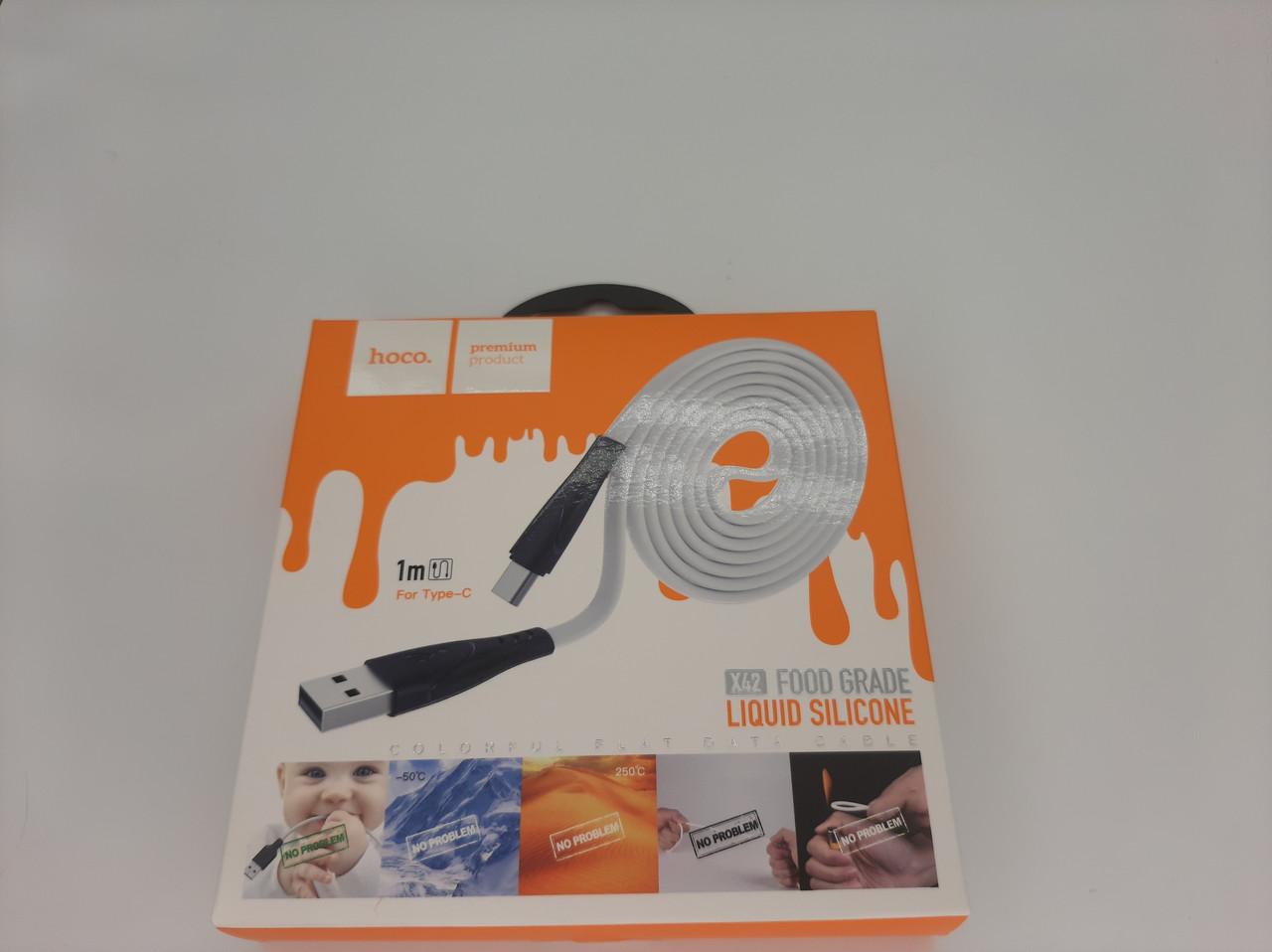 """USB Кабель HOCO X42 """"Soft Silicone"""" Type-C (1М) (белый)"""