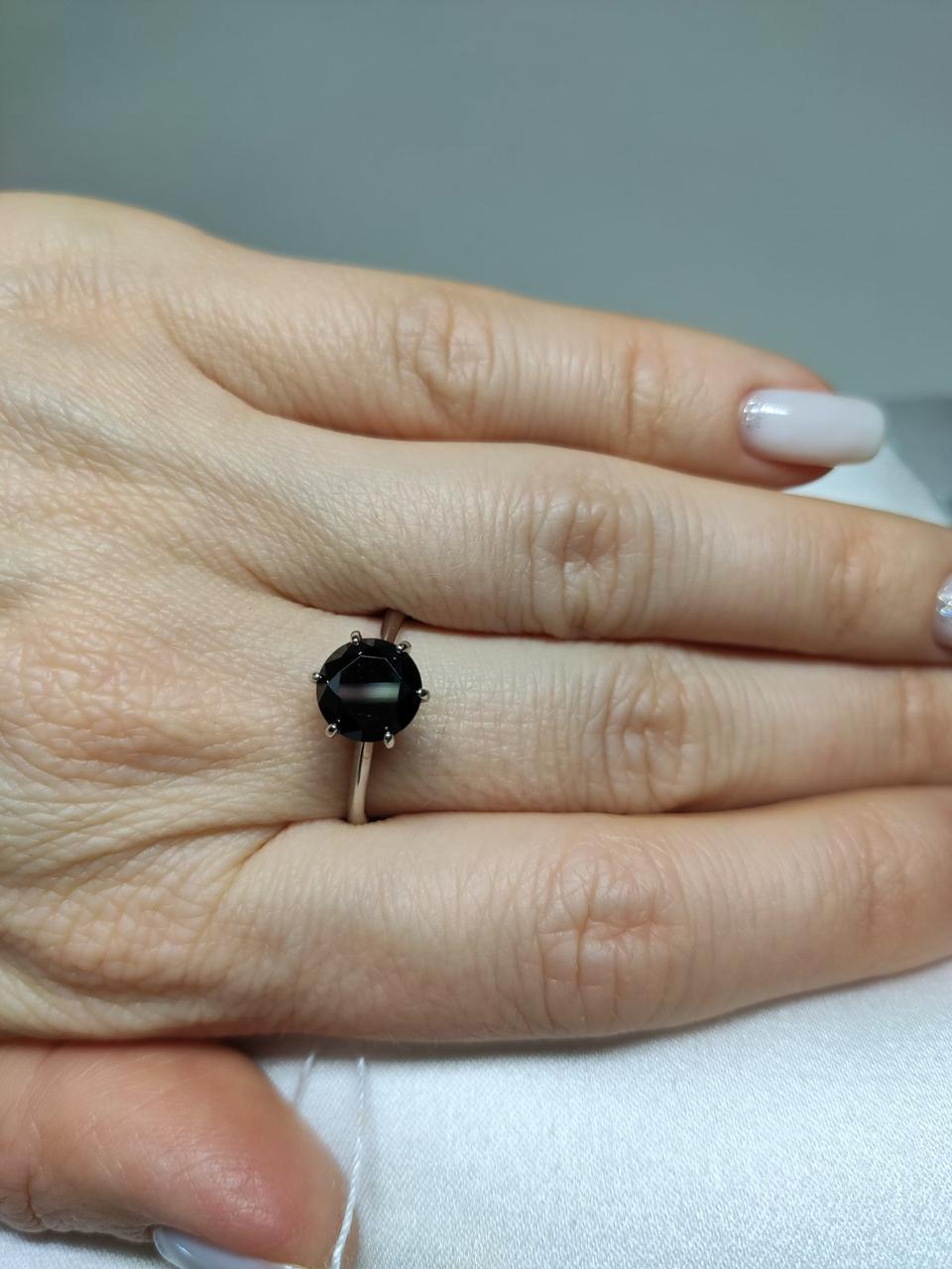 """Срібне кільце """"Заріна"""" з великим чорним фианитом, арт - 910040"""