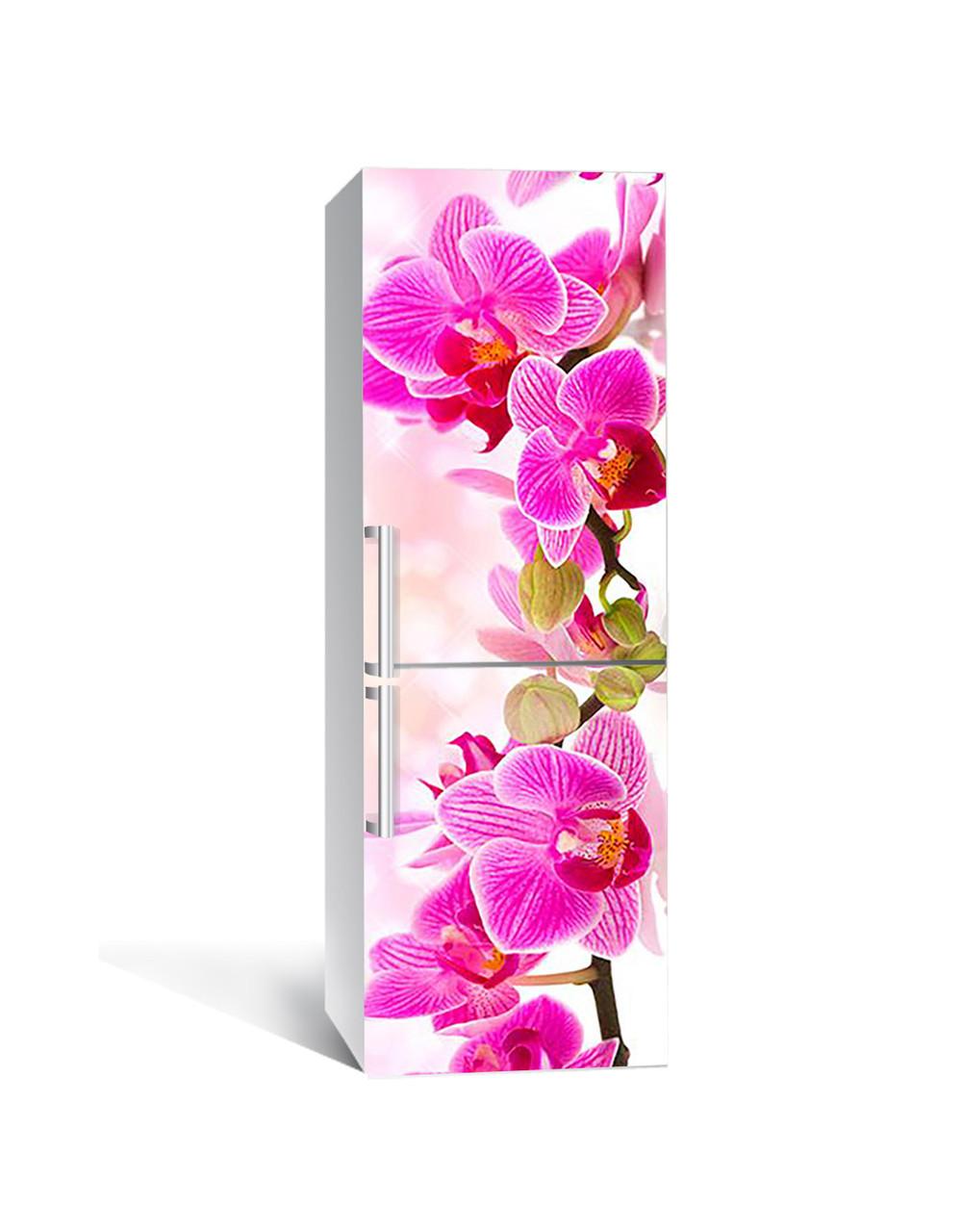 Вінілова наклейка на холодильник Рожева Орхідея самоклеюча ламінована плівка ПВХ великі квіти