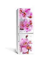 Виниловая наклейка на холодильник Орхидея Сакраменто (самоклеющаяся ламинированная пленка ПВХ) розовые цветы 650*2000 мм
