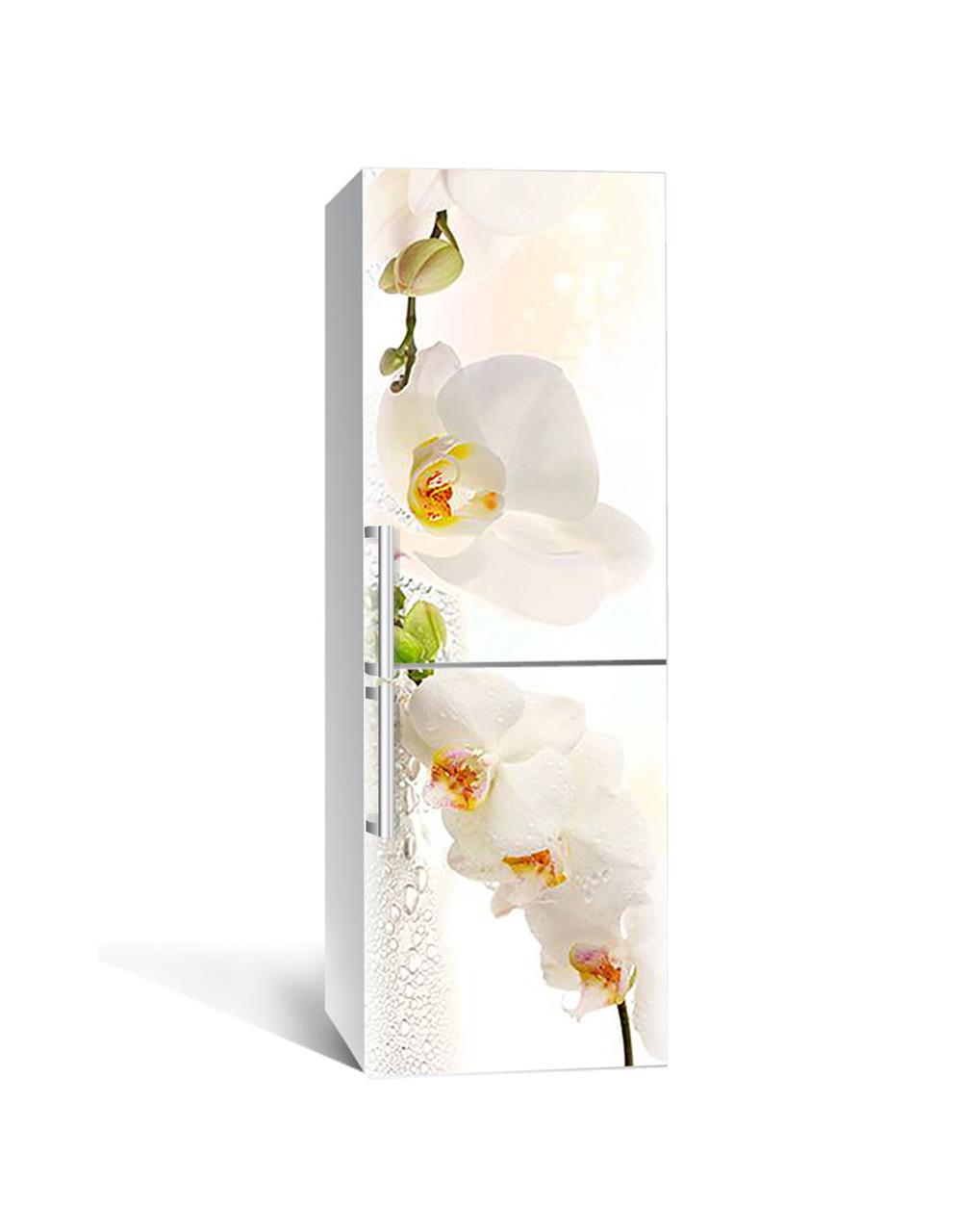 Виниловая наклейка на холодильник Белая орхидея 03 самоклеющаяся ламинированная пленка ПВХ цветы роса Бежевый