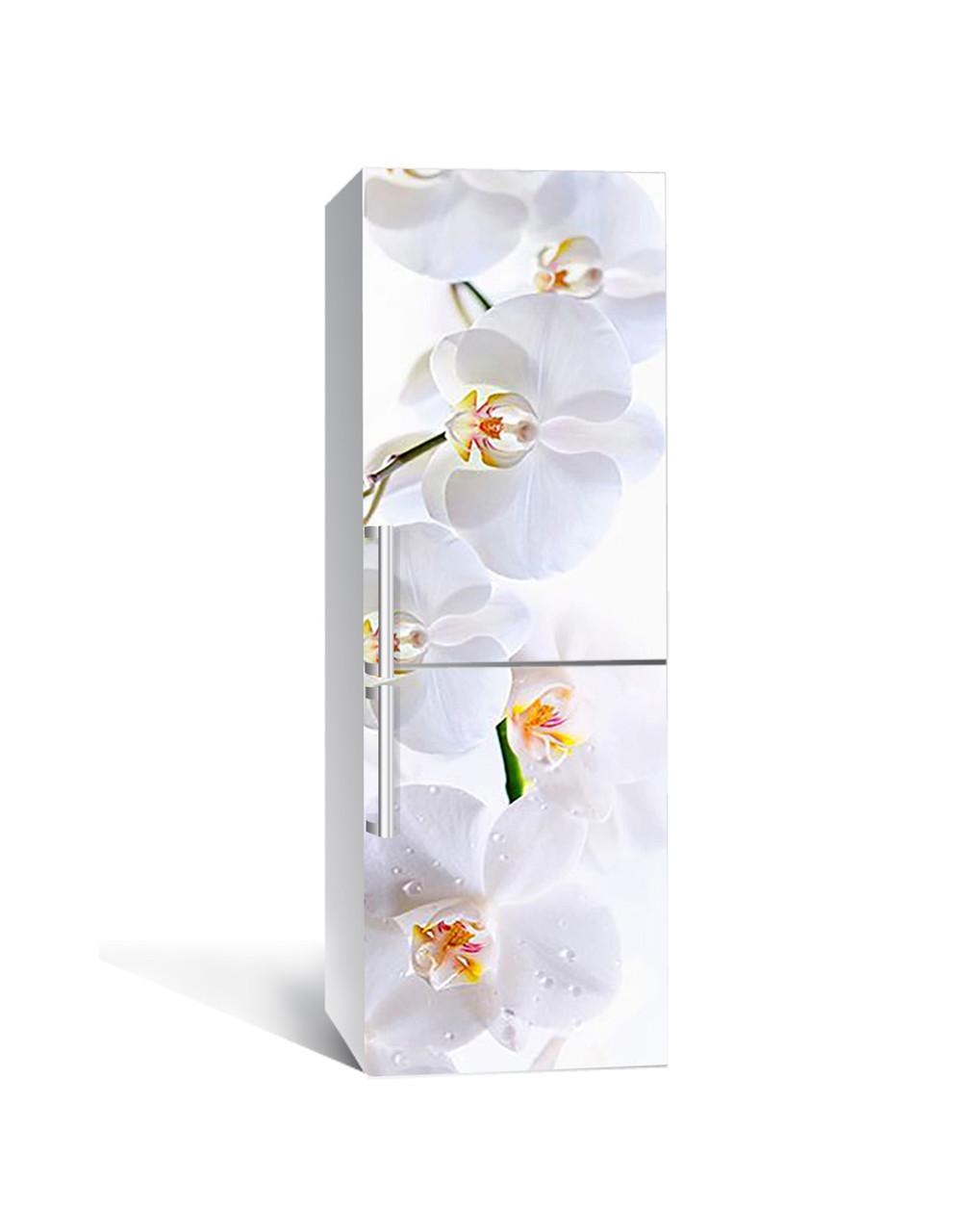 Вінілова наклейка на холодильник Ніжні білі Орхідеї самоклеюча ламінована плівка ПВХ квіти на білому