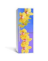 Виниловая наклейка на холодильник Желтые Тигровые Орхидеи самоклеющаяся ламинированная пленка ПВХ цветы, фото 1