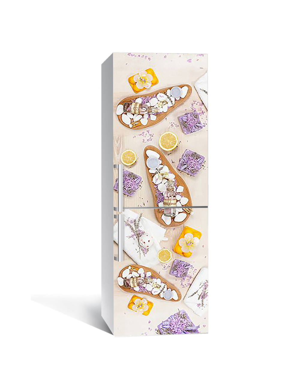 Вінілова наклейка на холодильник Лавандовий Акцент самоклеюча ламінована плівка асорті Фіолетовий