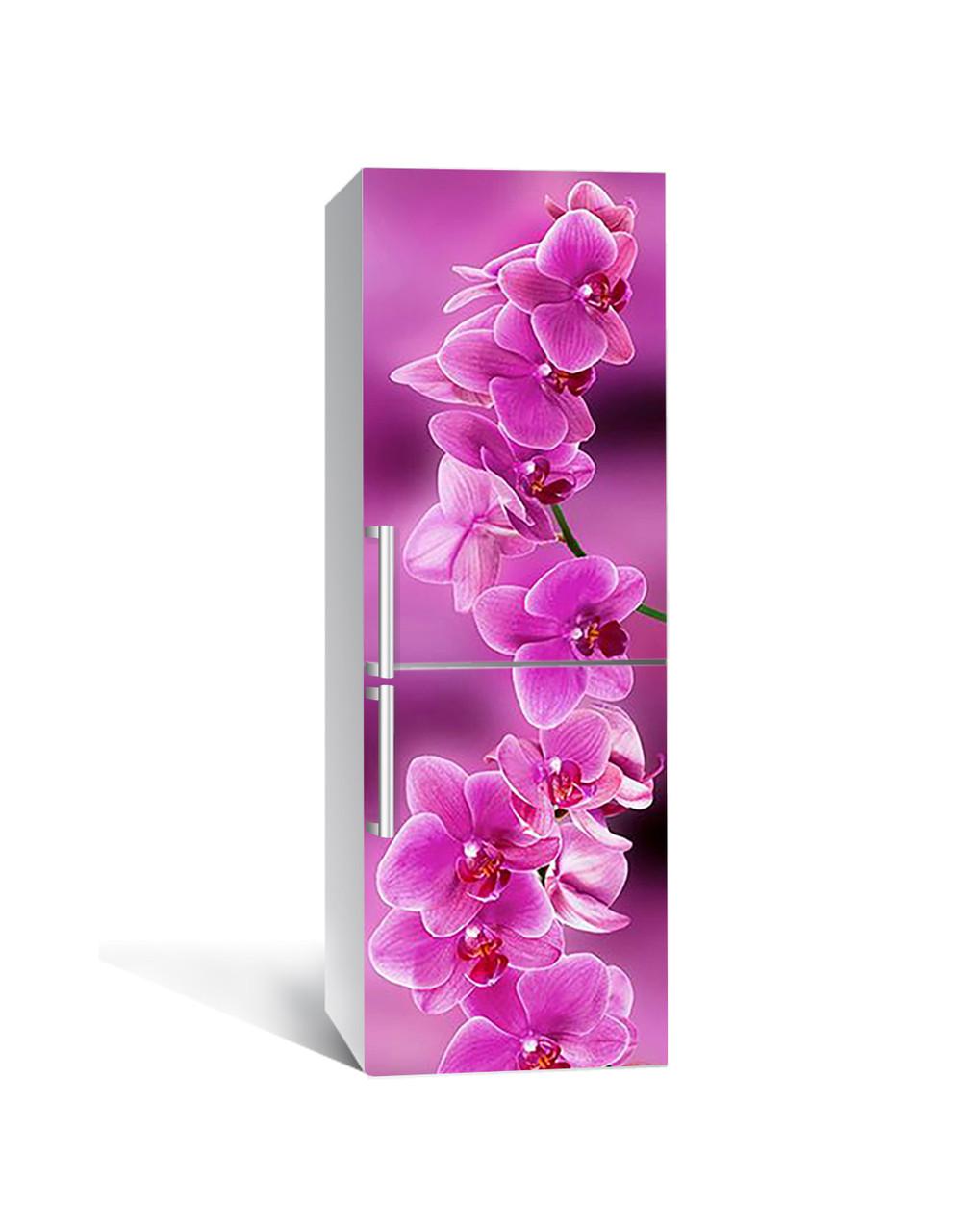 Виниловая наклейка на холодильник Ветка розовых Орхидей самоклеющаяся ламинированная пленка ПВХ цветы орхидеи