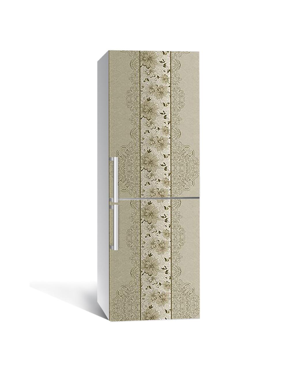 Виниловая наклейка на холодильник Винтажные Хризантемы самоклеющаяся ламинированная ПВХ под обои Орнамент