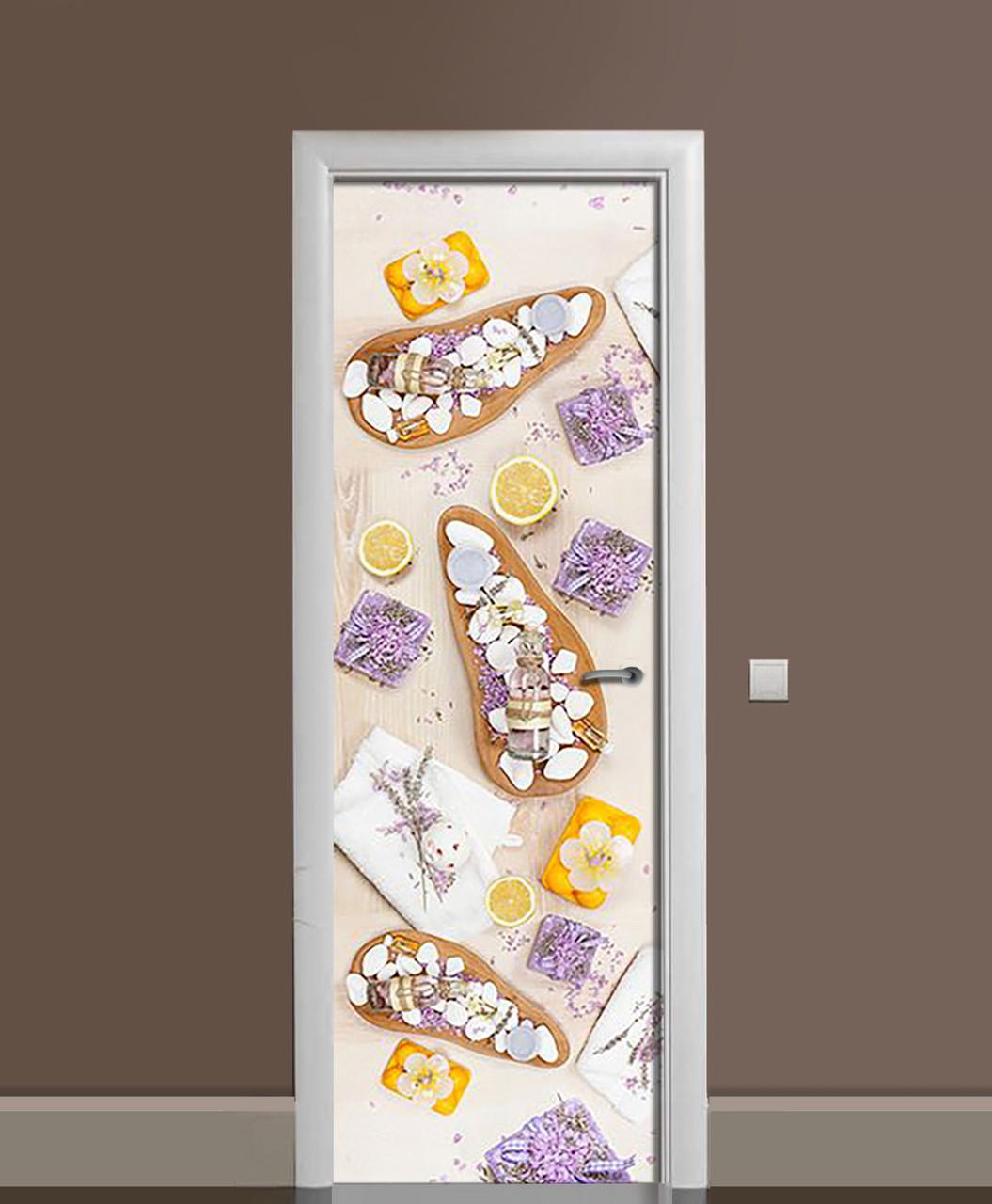 Виниловая наклейка на двери Лавандовый Акцент самоклеющаяся ламинация пленка ассорти Фиолетовый 650*2000мм