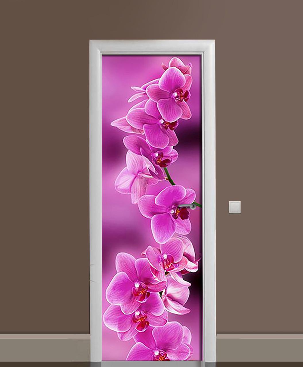 Виниловая наклейка на двери Ветка розовых Орхидей (самоклеющаяся ламинированная пленка ПВХ) цветы орхидеи 650*2000 мм