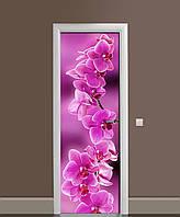 Вінілова наклейка на двері Гілка рожевих Орхідей (самоклеюча ламінована плівка ПВХ) квіти орхідеї 650*2000 мм