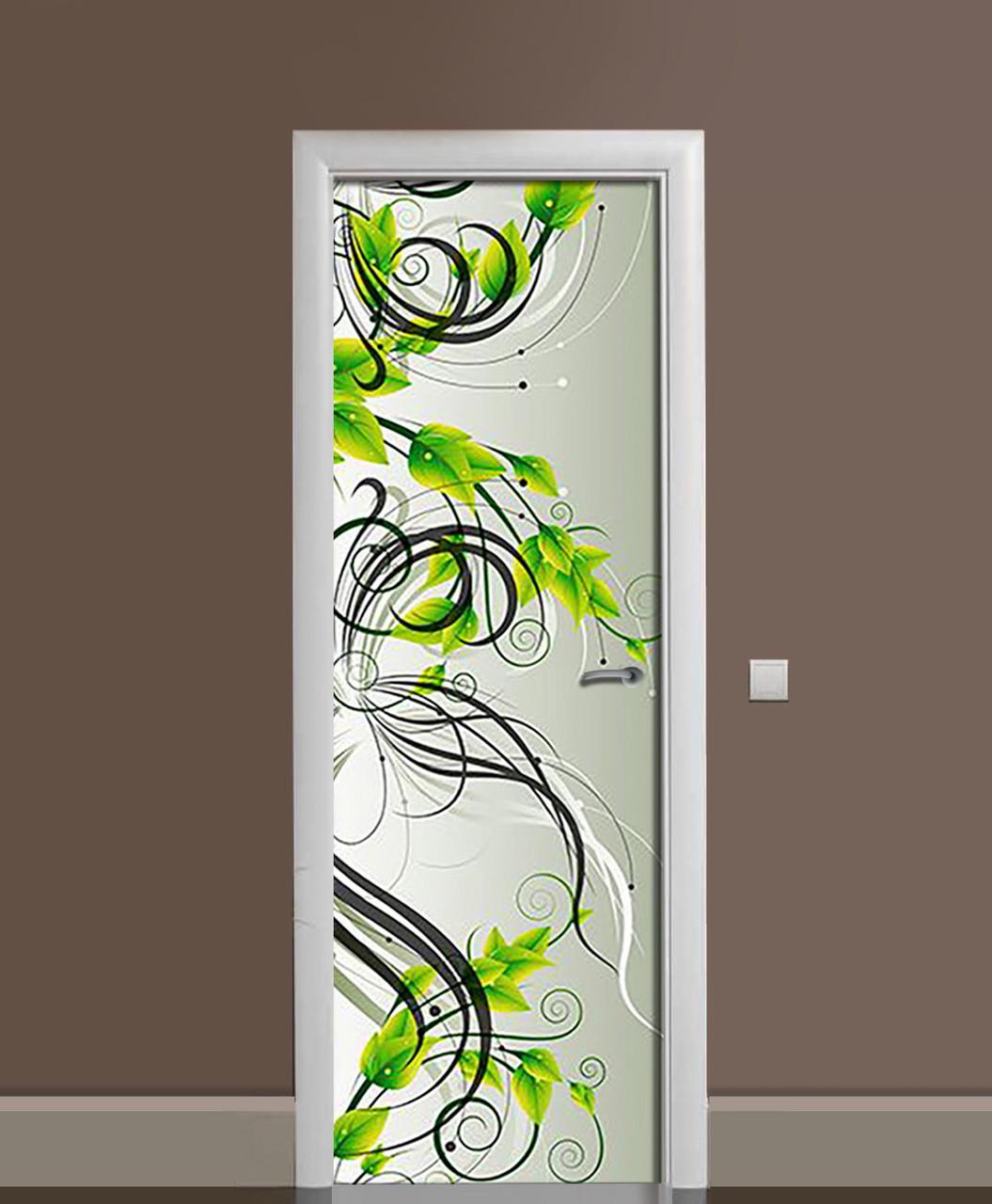 Виниловая наклейка на двери Зеленые завитки (самоклеющаяся ламинированная пленка ПВХ) орнамент Зеленый 650*2000 мм