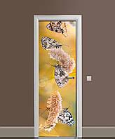 Виниловая наклейка на двери Бабочки и Колоски самоклеющаяся ламинация пленка полевые цветы Бежевый 650*2000мм