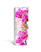 Виниловая 3D наклейка на холодильник Розовая Орхидея (интерьерная самоклеющаяся пленка ПВХ) крупные цветы 650*2000 мм, фото 1