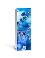 Виниловая 3D наклейка на холодильник Полевой колокольчик интерьерная пленка ПВХ одуванчик синий 650*2000 мм, фото 1