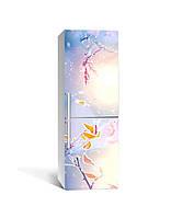 Виниловая 3D наклейка на холодильник Осенний Иней (интерьерная самоклеющаяся пленка ПВХ) изморозь ветки голубой 650*2000 мм, фото 1