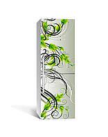 Виниловая 3D наклейка на холодильник Зеленые завитки (интерьерная самоклеющаяся пленка ПВХ) орнамент Зелёный 650*2000 мм, фото 1
