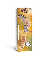 Виниловая 3D наклейка на холодильник Бабочки и Колоски интерьерная пленка полевые цветы Бежевый 650*2000 мм, фото 1