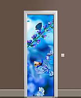 Виниловая 3D наклейка на двери Полевой колокольчик (интерьерная самоклеющаяся пленка ПВХ) одуванчик синий 650*2000 мм, фото 1