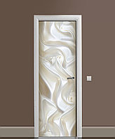 Вінілова 3D наклейка на двері Білий шовк і Перли інтер'єрна плівка під тканину Молочний 650*2000мм