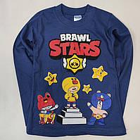 Детская кофта реглан для мальчика Бравл Старс brawl stars тёмно синяя 7-8 лет
