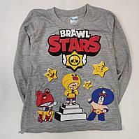 Детская кофта реглан для мальчика Бравл Старс brawl stars серая 5-6 лет