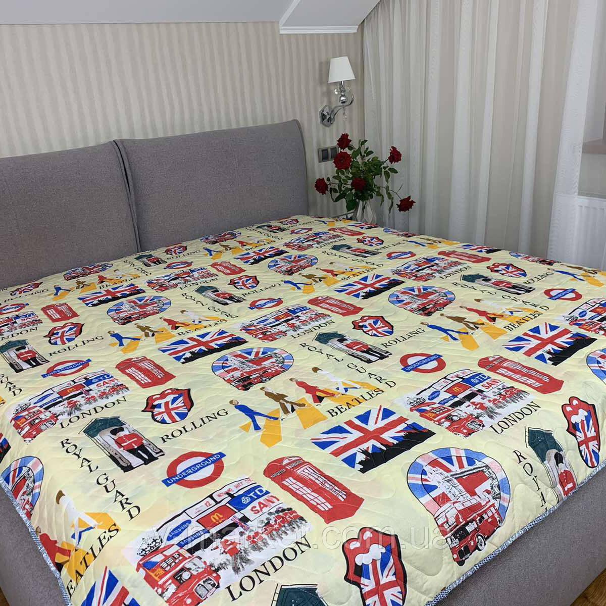 """Летнее одеяло покрывало """"Лондон"""" двуспальное окантованное, 175/210"""