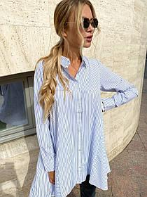 Длинная женская блуза-рубашка в полоску из бенгалина 44-0109