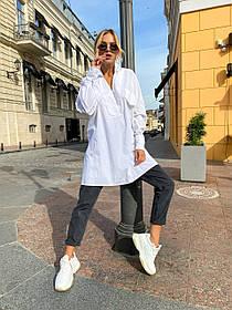 Белая женская блуза из хлопка 44-0149