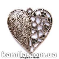 "Кулон металлический ""ажурное сердце"" серебро ( 4,5х4,6 см) 1 шт в уп."