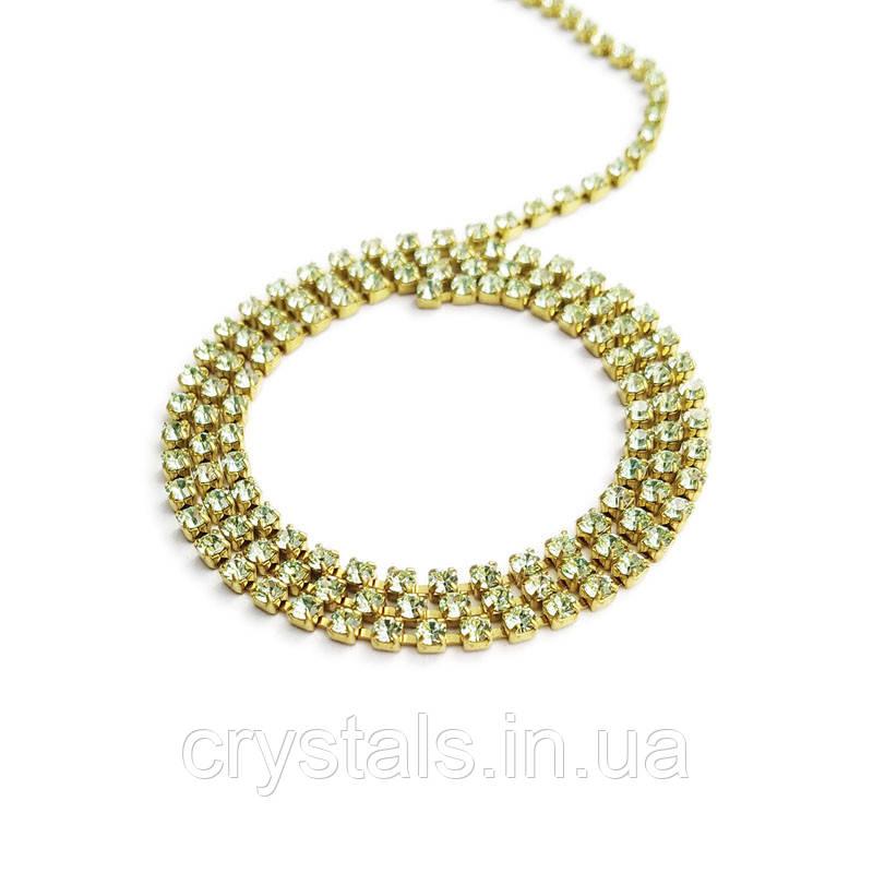 Стразовая цепь Preciosa (Чехия) ss6.5 Chrysolite/латунь