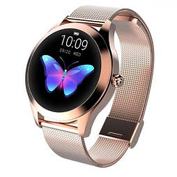 Женские умные часы KW10 GOLD. Наручные смарт часы с измерением давления (тонометр) и пульсометром