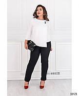 Офисный деловой женский костюм брюки и блуза батал 50 52 54 56 58 60