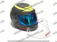 Шлем интеграл F2 хищник, черно-салатовый матовый прозрачный+тонированный визор