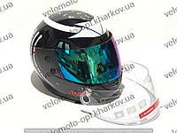 Шлем интеграл F2 хищник, черно-белый глянец прозрачный+тонированный визор