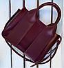 684-3 Натуральная кожа Сумка женская бордоая кожаная марсал женская сумка из натуральной кожи среднего размера, фото 2