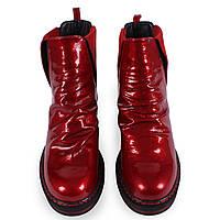 Женские ботинки (красные, на плафторме, демисезонные, лаковые)