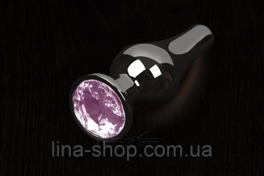 Пикантные Штучки, Маленькая графитовая анальная пробка с кристаллом - 8.5Х3 см (розовый)