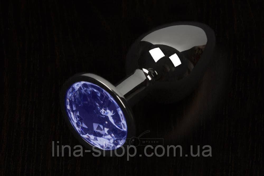 Пикантные штучки, Большая графитовая анальная пробка с кристаллом - 8,5х4 см. (синий)