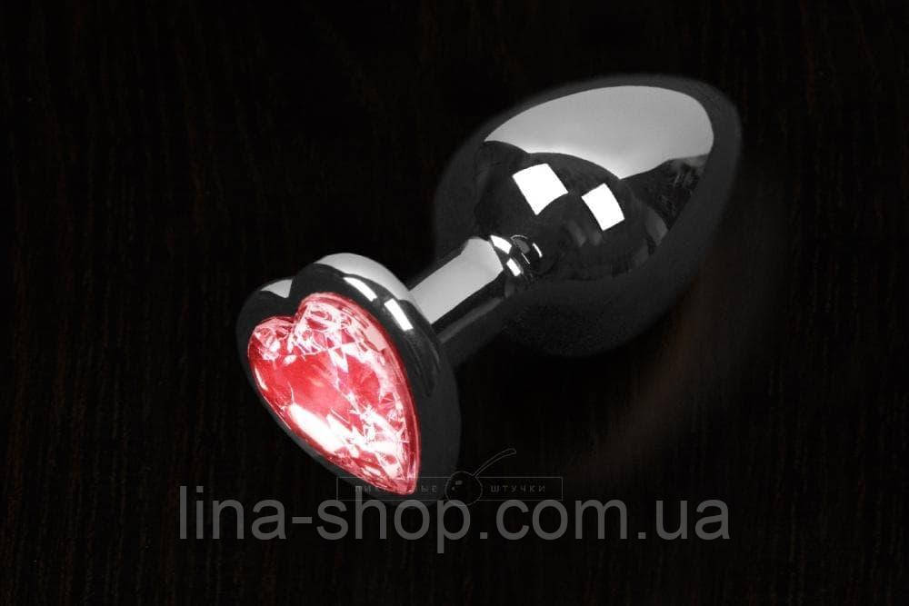 Пикантные Штучки, Большая графитовая анальная пробка с кристаллом в виде сердечка - 8,5Х4 см (розовый)