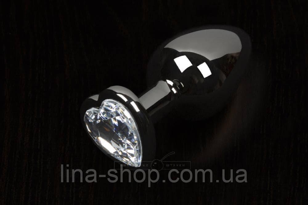 Пикантные Штучки, Большая графитовая анальная пробка с кристаллом в виде сердечка - 8,5Х4 см (прозрачный)