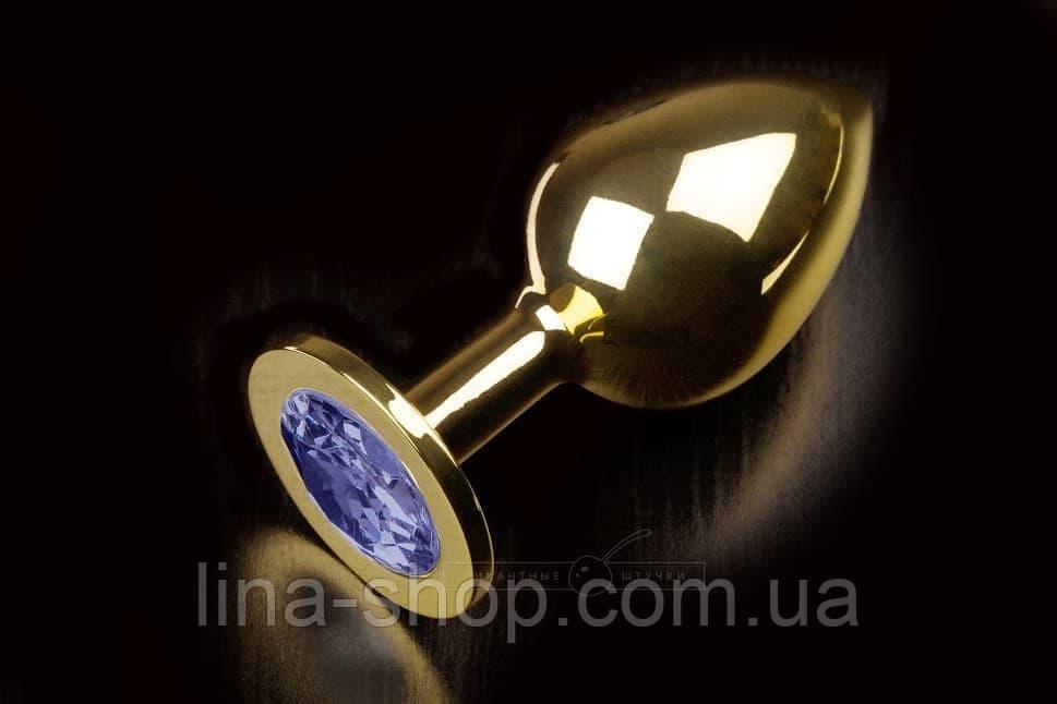 Большая золотистая анальная пробка с кристаллом (синий)