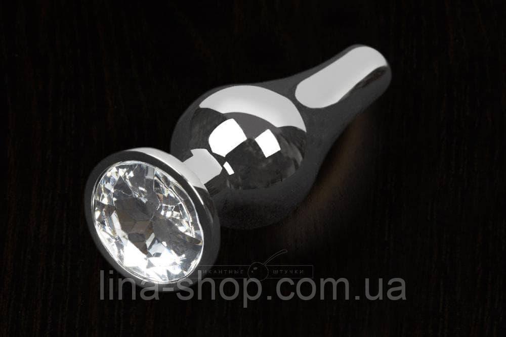 Пикантные Штучки, Серебристая анальная пробка с кристаллом - 12Х4 см. (прозрачный)