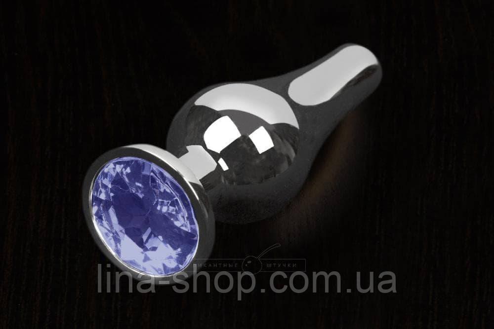 Пикантные Штучки, Серебристая анальная пробка с кристаллом - 12Х4 см. (синий)