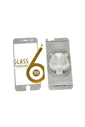 Защитное стекло iPhone 6 COLORFUL Silver (2pcs) гравировка tiger, фото 2