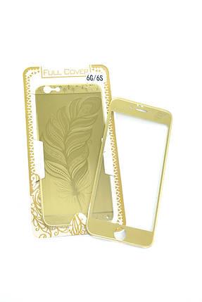 Захисне скло iPhone 6 COLORFUL Gold (2pcs) гравірування feather (перо) l, фото 2