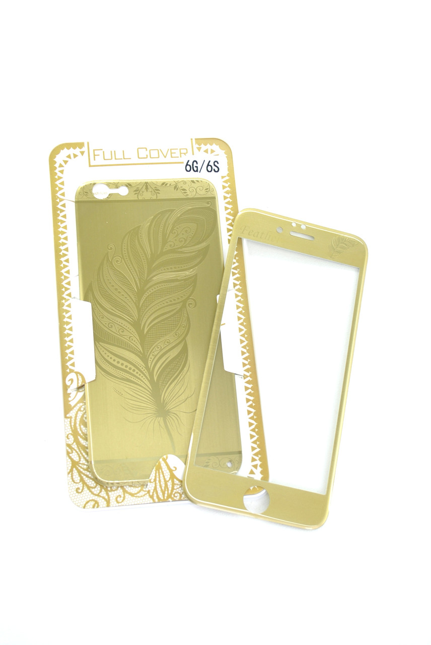 Захисне скло iPhone 6 COLORFUL Gold (2pcs) гравірування feather (перо) l